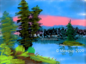 MS Paint 3D Bob Ross: Island in the Wilderness by Mewpup