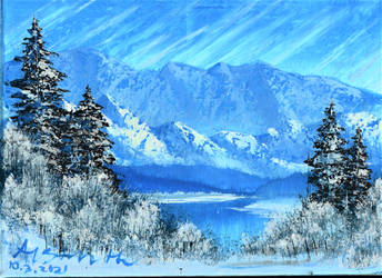 Blue winter (bob ross), acrylic by Mewpup