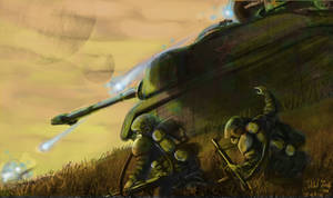 2074 - Soviet Troops Advance with T68 by Henskelion
