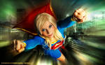 Supergirl above the city