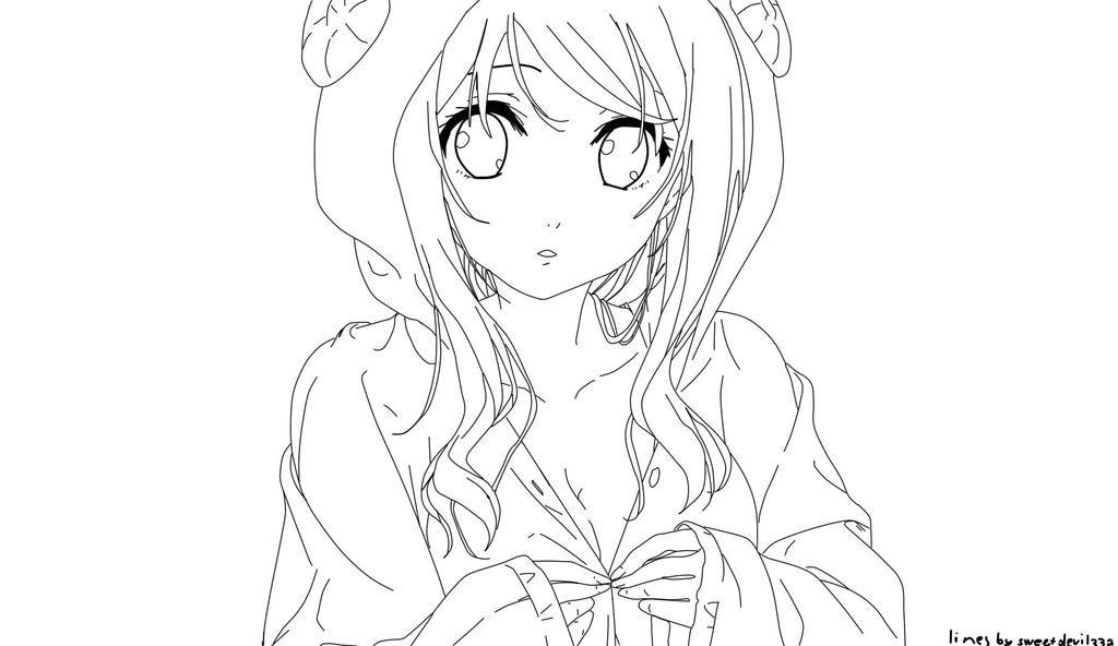 Line Art Anime : Free anime girl lineart by sweetdevil on deviantart