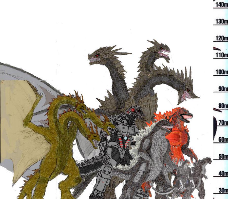 Godzilla US Kaiju size chart by Gyaos2008