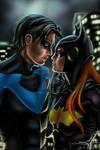 Nightwing and Batgirl fanart by ewmh1