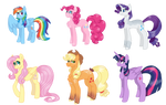 Mane 6 designs for the Cloudverse by Cloud-roots
