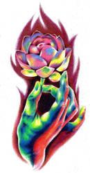 Hand with Flower tattoo design