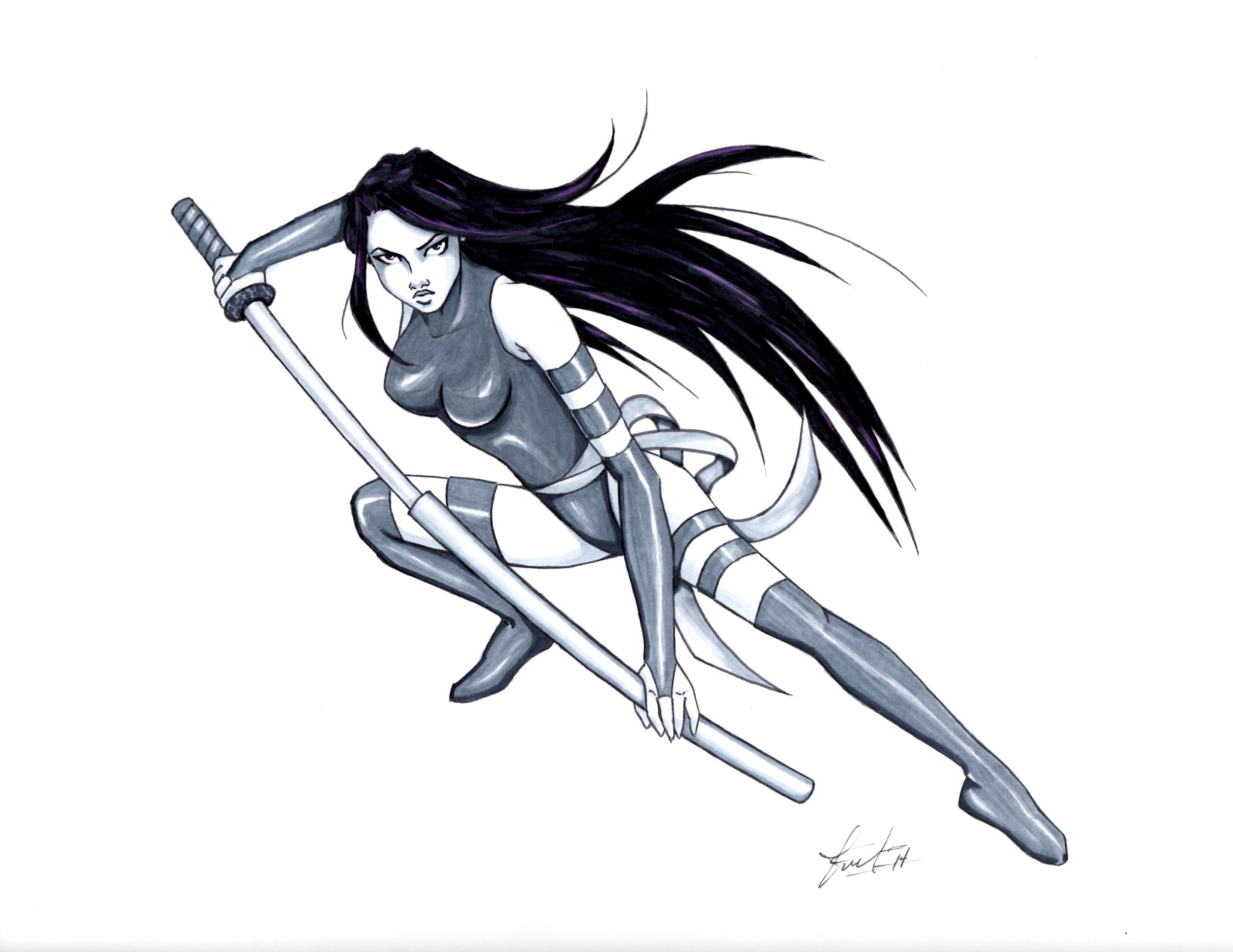 Psylocke drawing by LarcDEAR