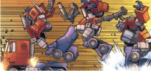 Ascii G1 Optimus Transforming Action Colourized
