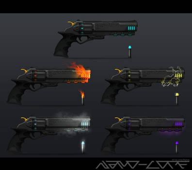 Sci Fi Elemental Revolver Concept