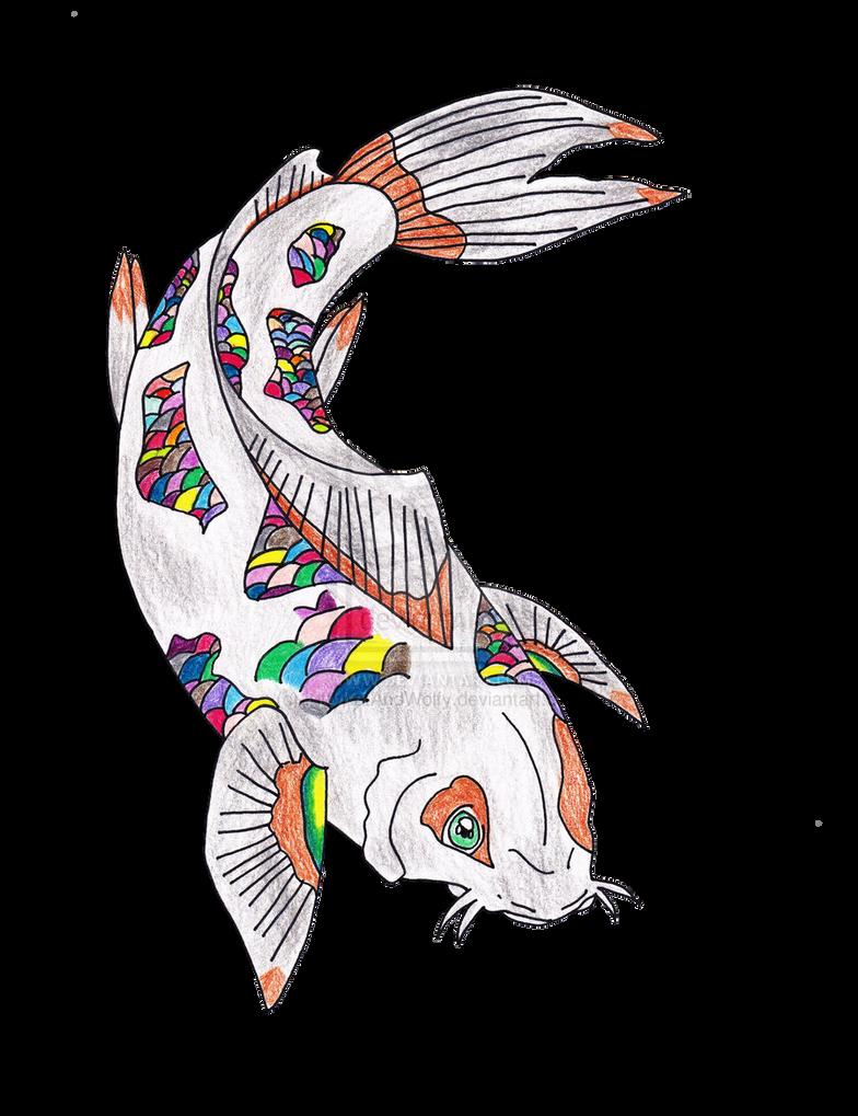 Rainbow koi fish drawing by kittykatandwolfy on deviantart for Rainbow koi fish
