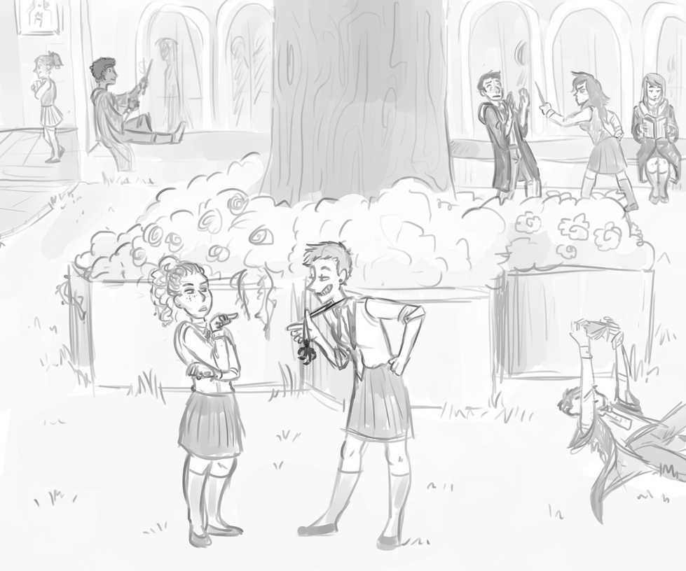 Courtyard chat by Thea0605