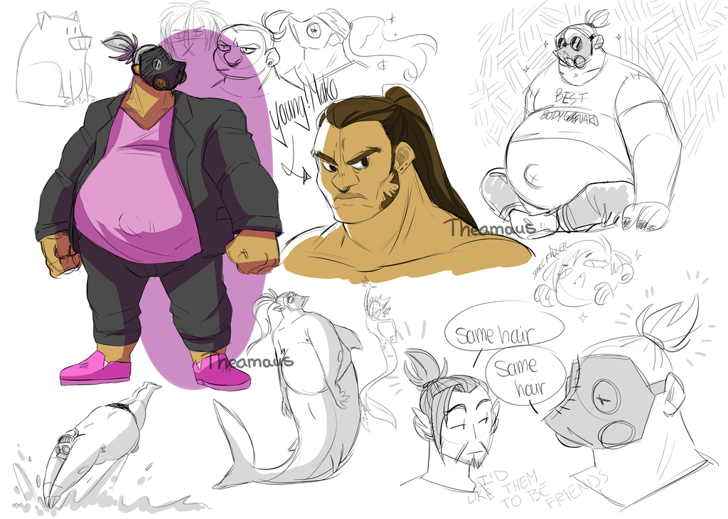 Yet another roadhog sketch dump by Thea0605