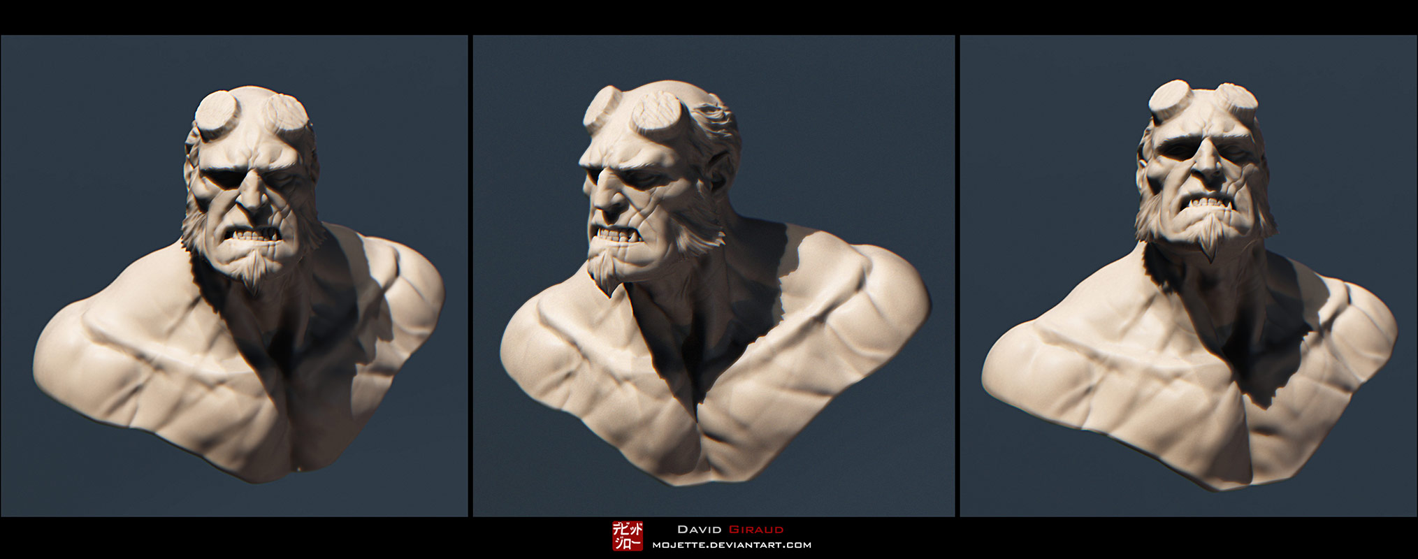 Hellboy bust render by mojette