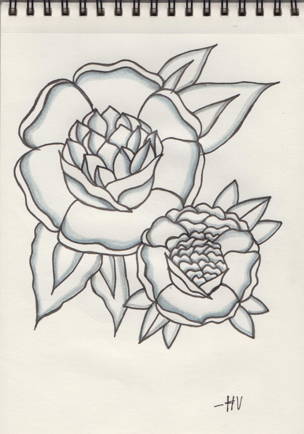 Traditional Flower Tattoo Design nr 2 by D-ragonstone