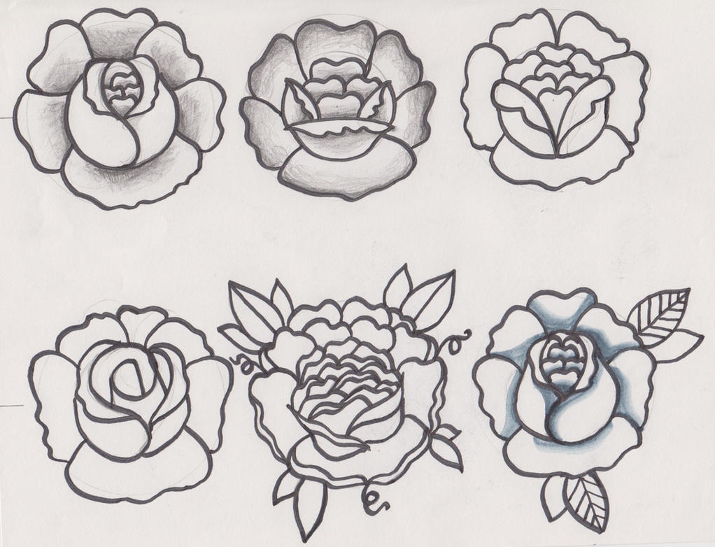 Traditional Flower Line Drawing : Traditional flower tattoo designs sketches by d ragonstone