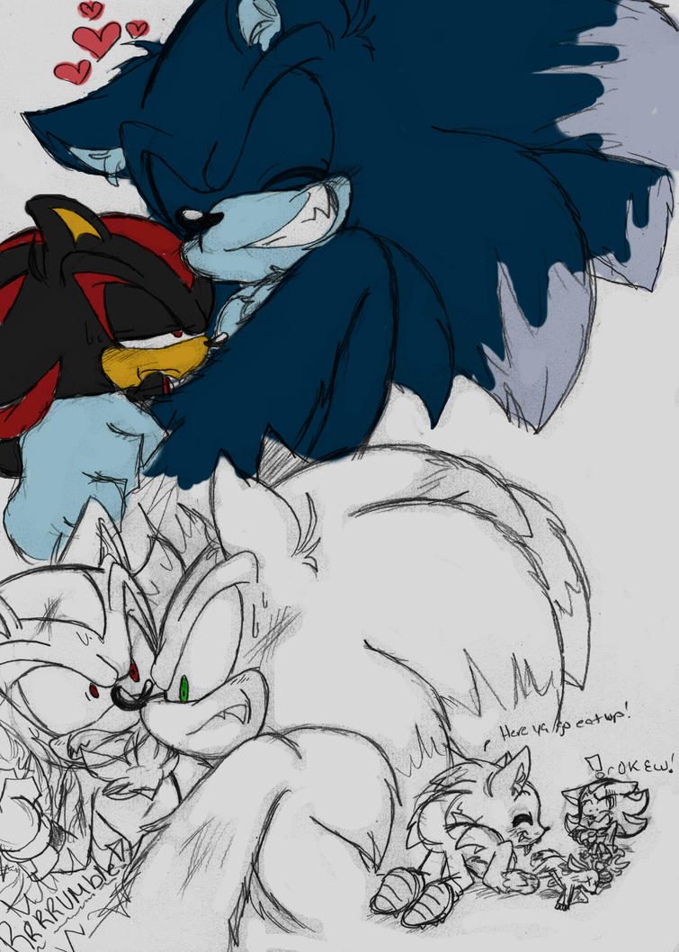Shadow X Sonic the Werehog by Narcotize-Nagini