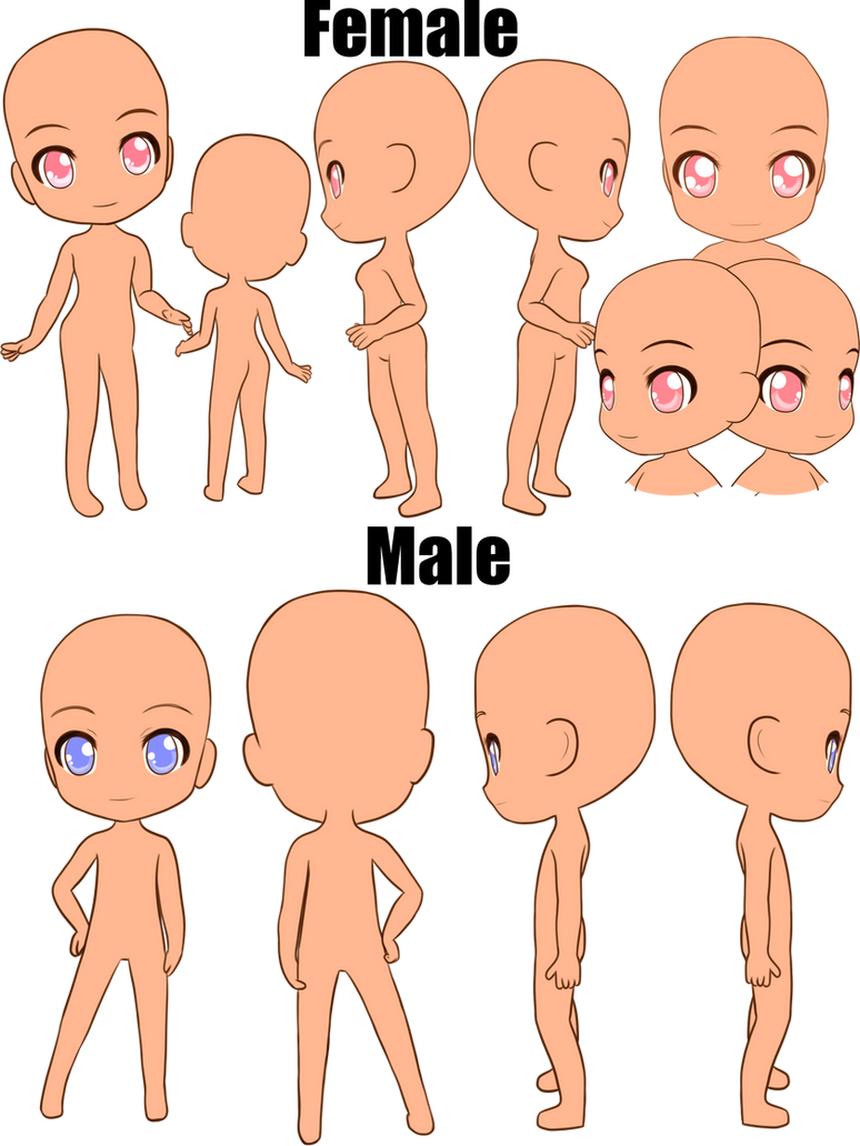 Male/Female Chibi Charactersheet base by ShoranSenSaora