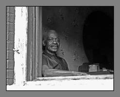 Stoic old man In window.img673, with story by harrietsfriend