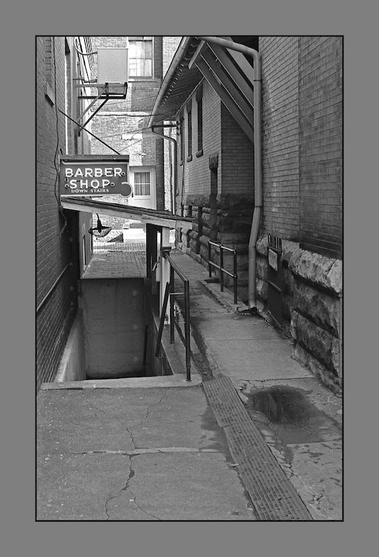 Barber shop, below.img732, with story, a series by harrietsfriend