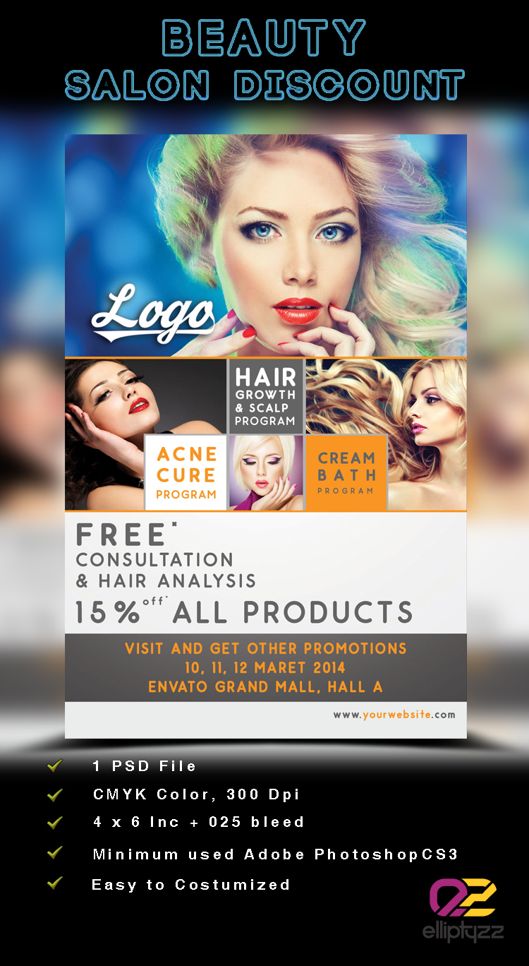 Beauty Salon Discount Flyer Template PSD By Elliptyzzz