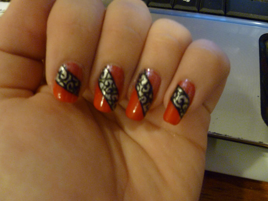 Red Regal Scroll Work Nail Art by kkmaree on deviantART