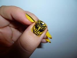 Bumble Bee Nail Art Closeup by kkmaree