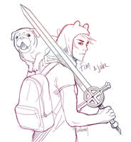 Finn and Jake by Lailamon