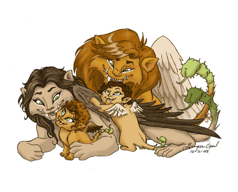 Happy Manticore Family by GingerOpal