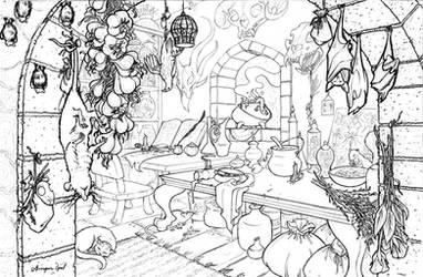 Begonia's Work Room - line art by GingerOpal
