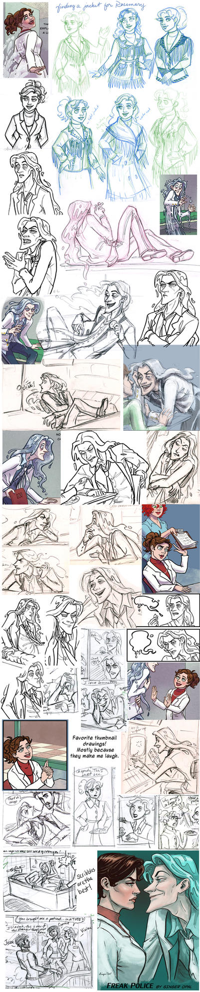 Jeremiah/Rosemary Comic Sketchdump by GingerOpal