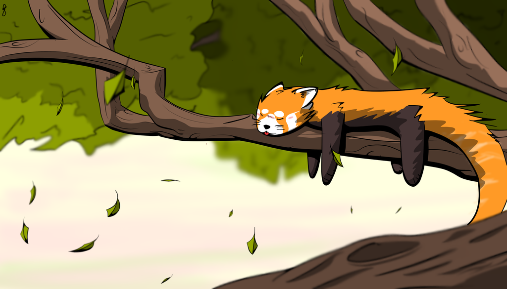 Much Lazy Red Panda by farnayway