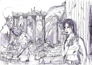 Lara and the minotaur... by Neilou-X