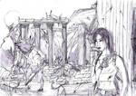Lara and the minotaur...