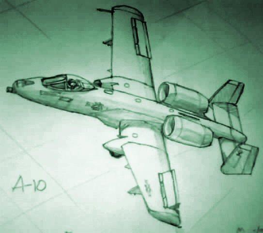 A 10 Thunderbolt Drawing A-10 Thunderbolt II by...