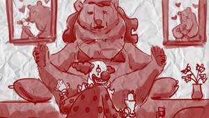 Clown Shaves Bear