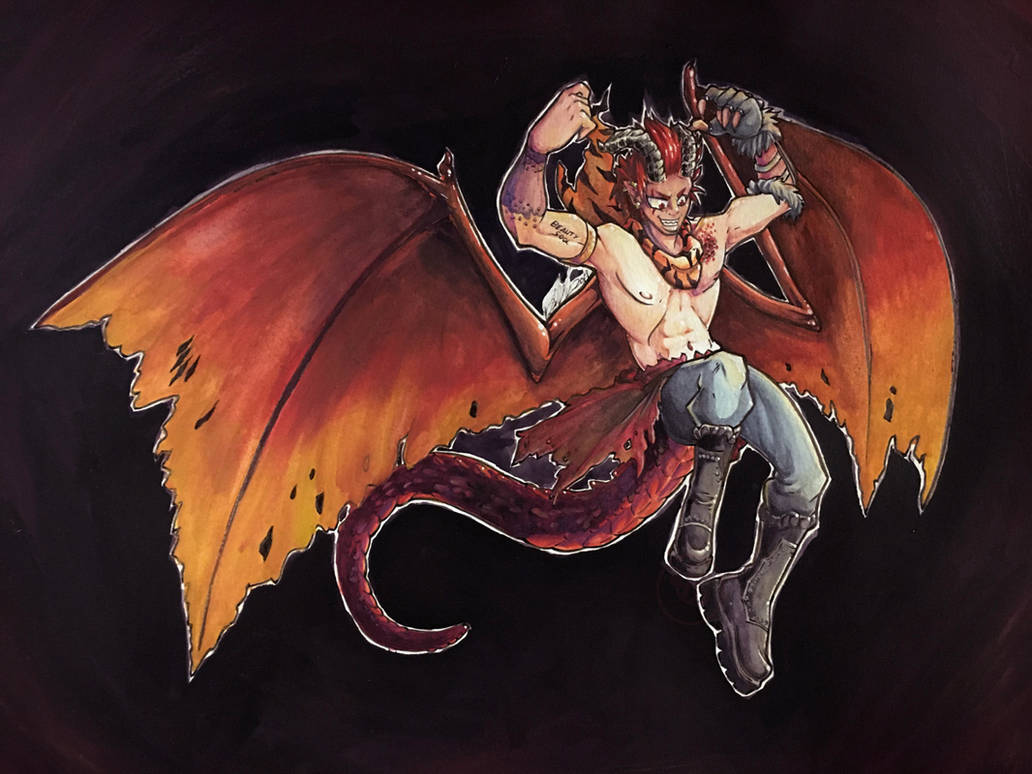 Dragon Knight Kirishima gouache FINISHED