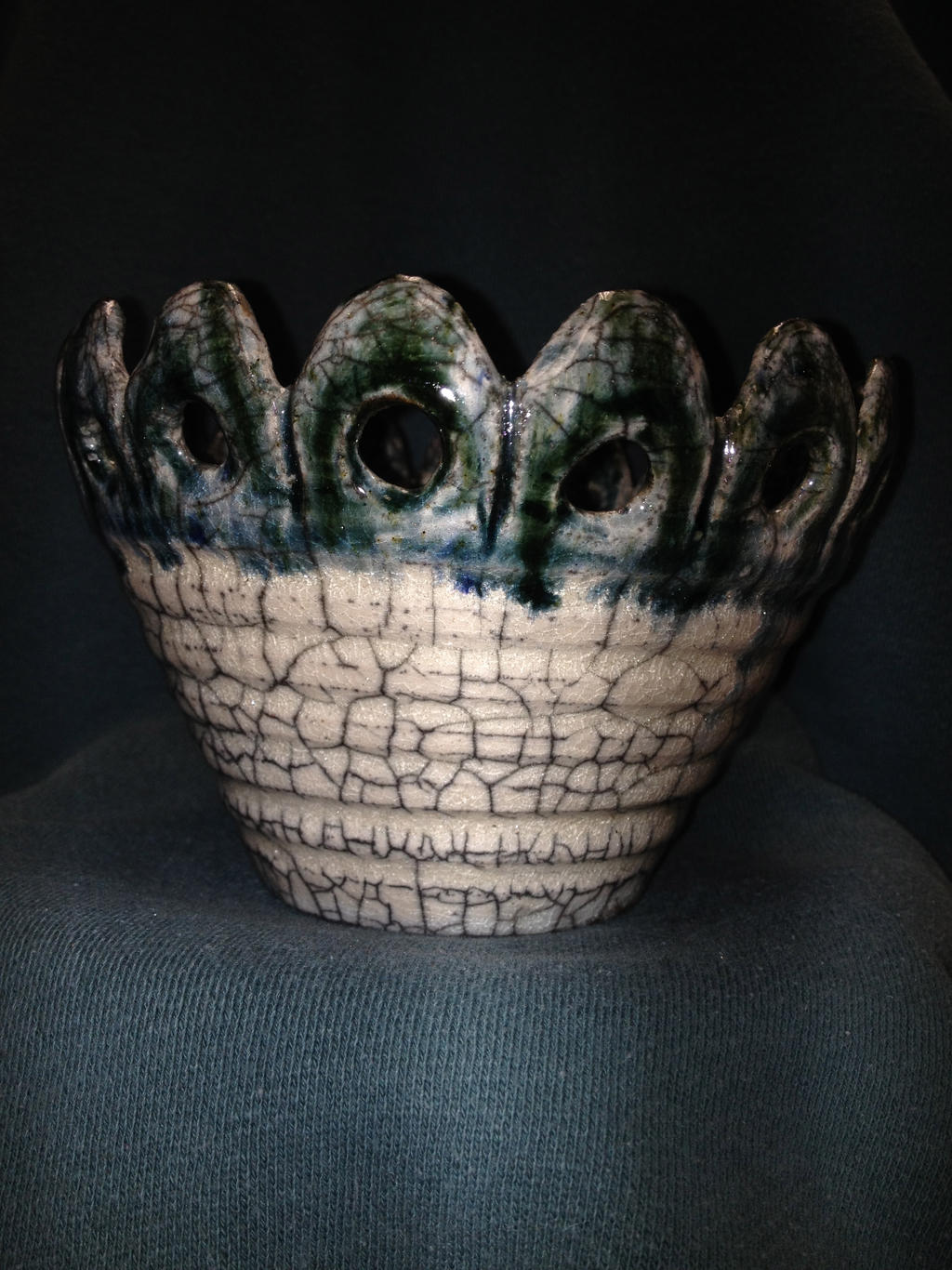 Raku Cup with Scalloped Rim by MerakiMudworks