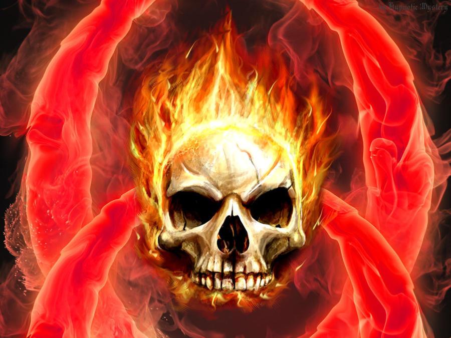 Burning Skull Wallpaper By HypnoticMystery