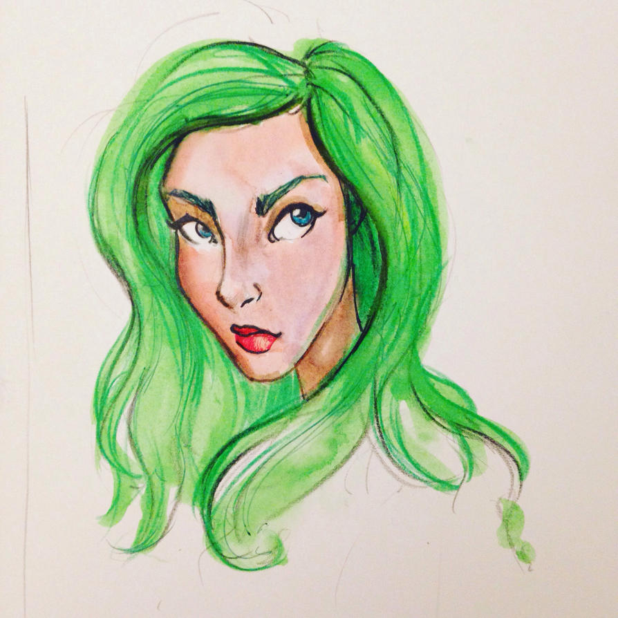 Green haired girl by LeanneEast