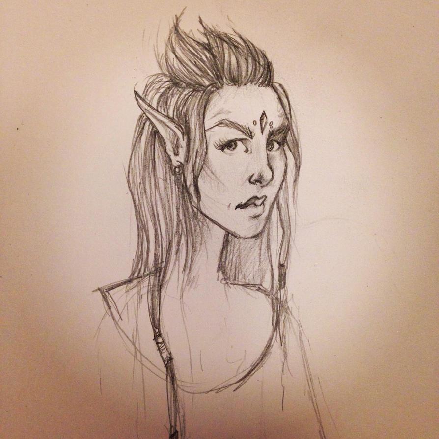 Wood Elf character sketch by LeanneEast