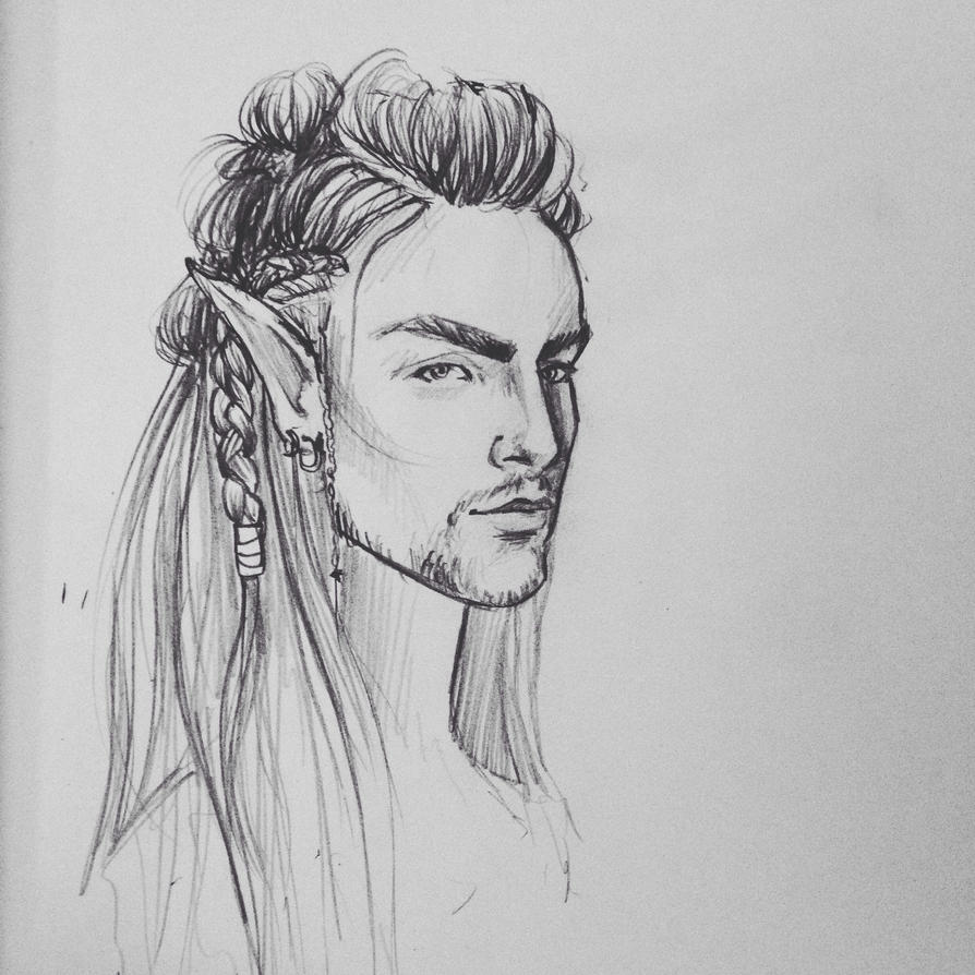 Male elf concept sketch by LeanneEast
