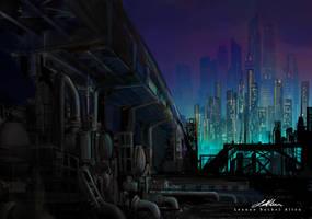 Cyberpunk city by LeanneEast