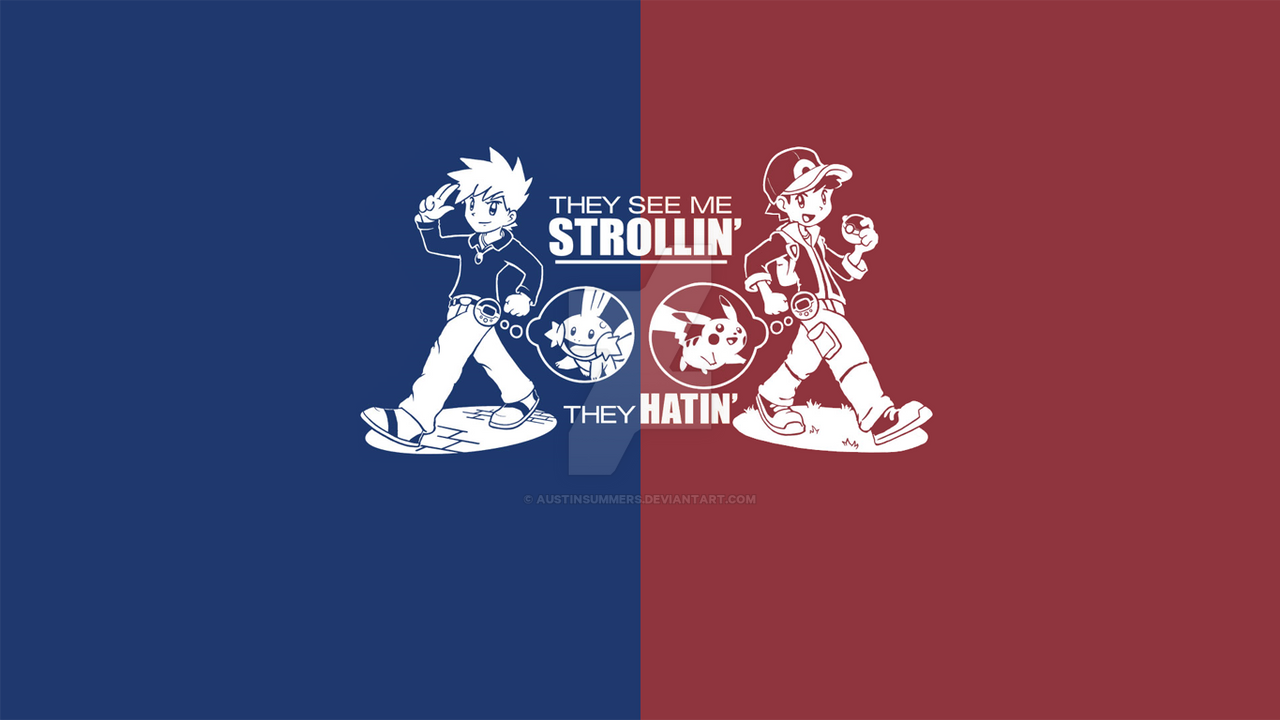 Pokemon Trainer Red And Blue Wallpaper By Austinsummers On Deviantart
