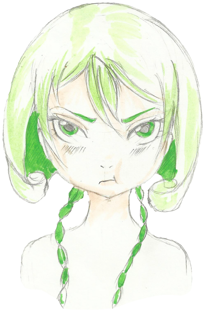 Green haired tsundere by teika1997