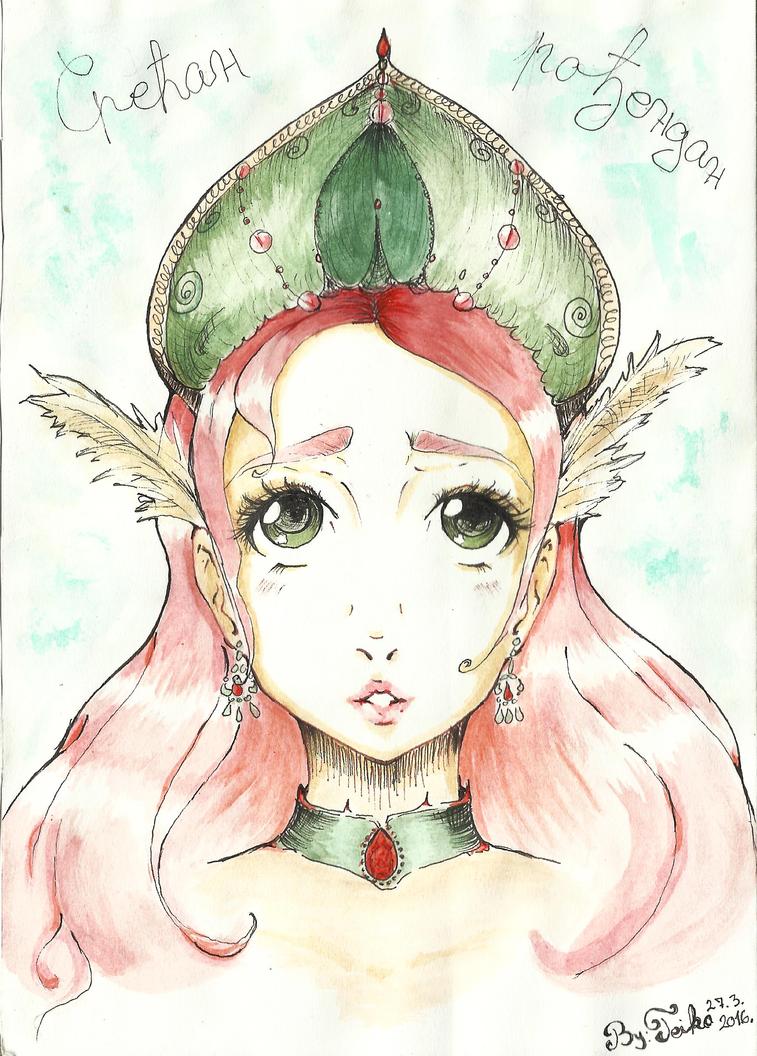 Princess with a green headpiece by teika1997