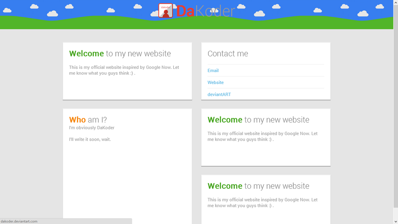 google now inspired website design html and css by dakoder