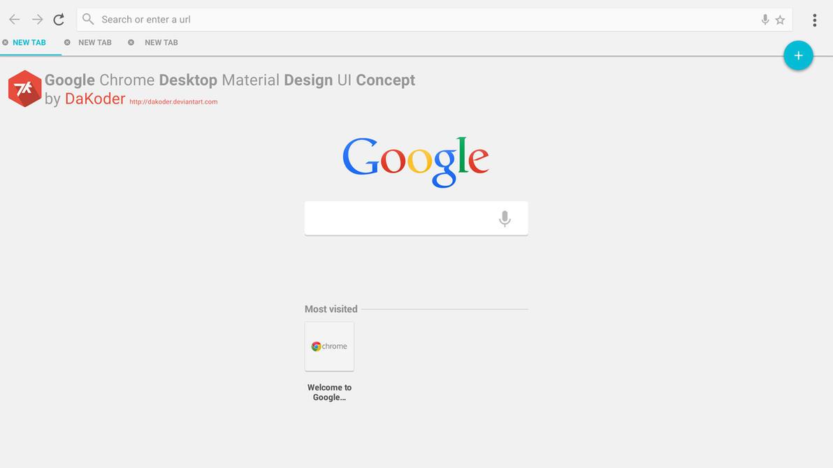 Google Chrome Desktop Material Design UI Concept by DaKoder