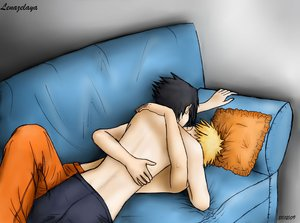 on the couch by Yaoi-SasuNaru-FC
