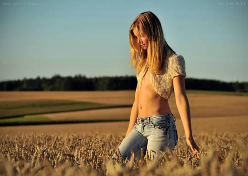 Marie in the wheat field.