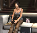 Lara Playing Tomb Raider on The PS3