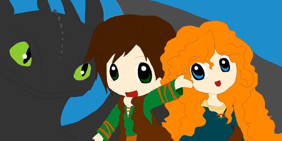 Merida, Hiccup and Toothless by Queen-Of-Cute on DeviantArt